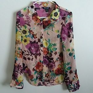 Sheer Long Sleeve Floral Top XS Button Up